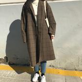 大衣 格紋 英倫風 毛呢 夾棉 長版 長大衣 外套【MYPP666】 BOBI  01/11