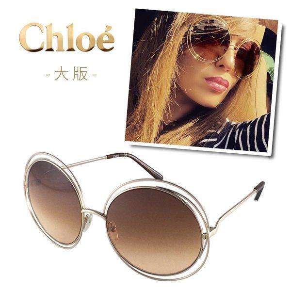 【Chloe' 蔻依】CE114S-784-62雜誌型錄款墨鏡(玫瑰金框漸層棕鏡面#大版)