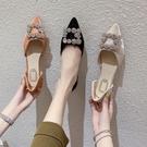 低跟鞋 平底單鞋女2020年夏季新款韓版網紅百搭仙女風尖頭豆豆鞋中