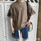 麻印花圓領短袖t恤男加大碼青少年五分袖上衣男裝  歐韓流行館