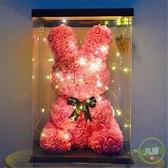 花束禮盒 父親節同款網紅兔玫瑰花兔玫瑰熊永生花禮盒女友生日表白創意禮物-快速出貨