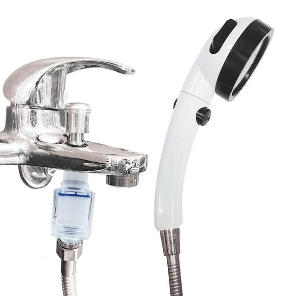 CURURU 洗澡過濾器除氯超值組(三段加壓止水蓮蓬頭+透明PP高密度濾棉過濾器)304面板濾淨