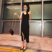 南夕姐姐 溫柔風小黑裙黑色v領弔帶裙女夏季新款性感冷淡風洋裝IGO  檸檬衣舍