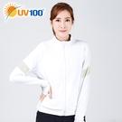 UV100 防曬 抗UV-拼接運動風立領外套-女