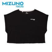 MIZUNO 女裝 短袖 1906 休閒 時尚 舒適 素面 黑【運動世界】D2TA920609