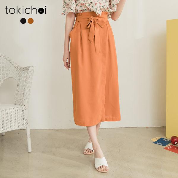 東京著衣-tokichoi-韓妞百搭附綁帶開岔長裙-S.M.L(190572)