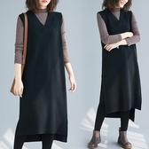【A5223】V領無袖針織連身裙 F