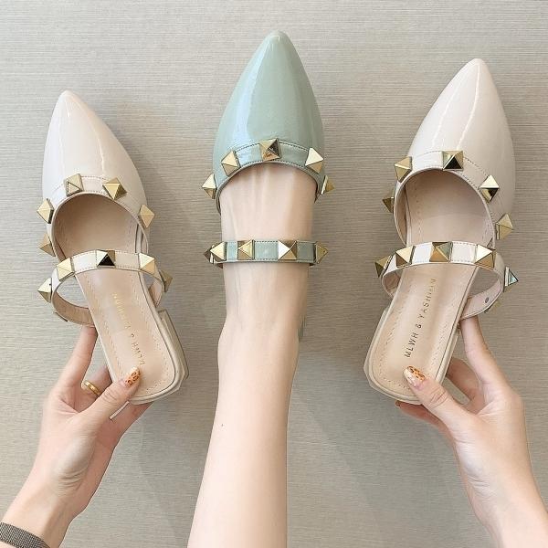 穆勒鞋.韓版率性鉚釘一字帶尖頭低跟拖鞋.白鳥麗子