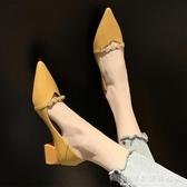 女鞋夏季新款百搭尖頭單鞋子中跟職業工作皮鞋網紅粗跟高跟鞋 聖誕節免運