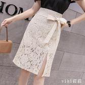 中大尺碼開叉裙夏季韓版中長款半身裙純色蕾絲裙女 nm5512【VIKI菈菈】