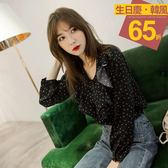 《AB5551》滿版圓點浪漫荷葉造型雪紡上衣 OrangeBear