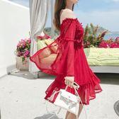 少女心夏季雪紡洋裝海邊度假一字肩沙灘裙新款抹胸露肩仙女短裙   時尚潮流