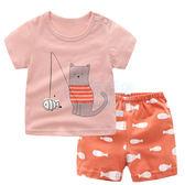貓咪釣魚圓領上衣 女童裝兩件式 上衣+褲子(80-120)【巴布百貨】