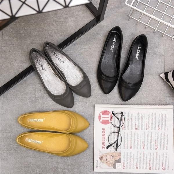 大尺碼女鞋小尺碼女鞋尖頭素面車線舒適娃娃鞋平底鞋包鞋灰色(35-41)
