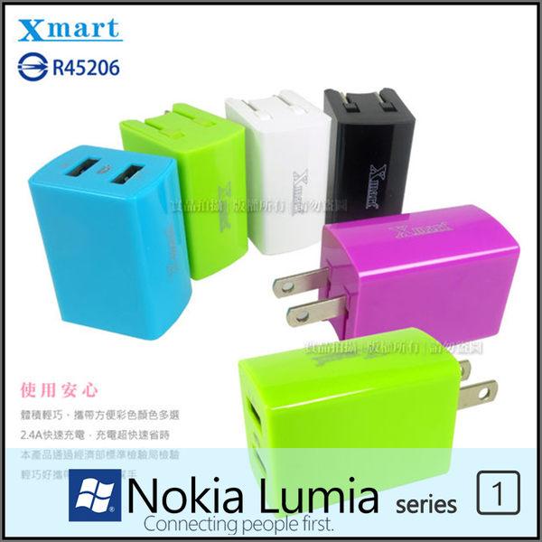 ◆Xmart AC210 5V/2.4A 雙孔 USB 旅充頭/旅充/NOKIA Lumia 510/520/530/610/620/625/630/635/636/638/640/640XL