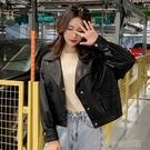 夾克 皮衣外套女短款年潮流時尚百搭韓版洋氣秋季矮小個子小皮夾克 快速出貨