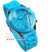 GENEVA 馬卡龍色系 繽紛彩色錶 造型三眼錶 淺藍玫瑰金色 大圓錶 數字錶 女錶 學生錶 GE淺藍大