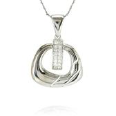 項鍊 925純銀鑲鑽吊墜-線條方環生日母親節禮物女飾品73dk15【時尚巴黎】