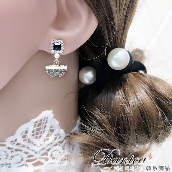 耳環 現貨 韓國氣質百搭小香風幾何滿鑽珍珠水鑽耳環 夾式耳環 S92821 Danica 韓系飾品