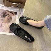 娃娃鞋 豆豆鞋女春2021新款淺口方頭單鞋軟底百搭瓢鞋黑色開車上班平底鞋