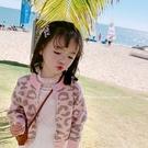 女童毛衣外套 女童韓版豹紋圓領針織毛衣外套