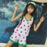 女生睡衣套裝   學院風少女裝可愛水果草莓帶眼罩三件套背心短褲睡衣套   ciyo黛雅