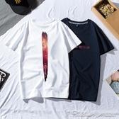 原宿風潮牌短袖T恤男ins寬鬆純棉體恤歐美街頭嘻哈加大碼半袖衣服 阿卡娜