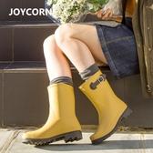 Joy Corn雨鞋女中筒春夏成人時尚膠鞋防滑防水鞋套鞋女雨靴防水鞋
