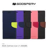 GOOSPERY ASUS ZenFone Live L1 ZA550KL FANCY 雙色皮套 可立 磁吸 插卡 側翻 保護套
