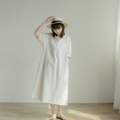 Queen Shop【01085486】圓領棉麻無印風澎袖洋裝 兩色售*現+預*