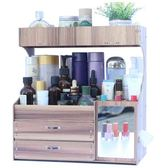藍格子 大號木制桌面收納盒 化妝品整理盒抽屜式收納架置物架大號 歐韓時代