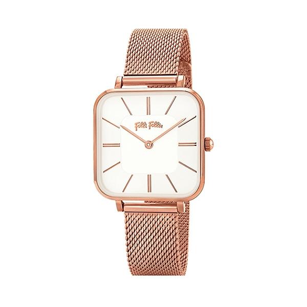 【Folli Follie】Timeless Bonds經典方形時尚米蘭腕錶-玫瑰金/WF18R007BPC_XX/台灣總代理公司貨享兩年保固