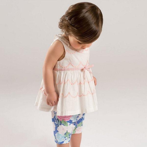 套裝 小童/大童 DaveBella 無袖上衣+短褲 套裝2件組 - 白底粉波浪花褲 DB5064