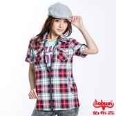 BOBSON 女款拉鍊式格紋短袖外套(23137-13)