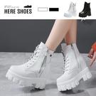 [Here Shoes] 10CM內增高短靴 率性百搭 皮革綁帶側拉鍊厚底靴 馬汀靴-KG1035