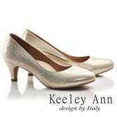 ★2017春夏★Keeley Ann星光閃耀~金屬光澤晶鑽真皮軟墊中跟鞋(金色)