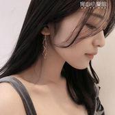 銀適合圓臉的設計感耳環流蘇耳線女顯瘦小眾氣質耳墜長款韓國簡約 育心小賣館