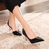 細跟高跟鞋 韓版女鞋 時尚尖頭淺口側空性感女單鞋職業OL顯瘦女高跟鞋《小師妹》sm3150