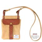 棕色休閒兩用袋  斜背包 / 腰包  AMINAH~【am-0276】