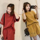 運動服閨蜜裝夏季學生運動套裝女寬鬆大碼兩件套顯瘦闊腿短袖跑步運動服 衣櫥秘密