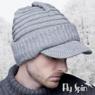 保暖針織帽子-素色雙層針織毛線加厚翻邊男...