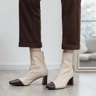 大尺碼真皮女鞋34-43☆2020新款韓版時尚百搭頭層牛皮拼色方頭中跟OL工作鞋 超級軟!~3色