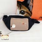 腰包~Le Baobab日系貓咪包 啵啵貓簡約腰包/手提包/側背包/拼布包包