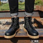 韓版馬丁靴男英倫皮面雪地沙漠工裝男鞋潮男靴夏季百搭中高筒軍靴 3c優購