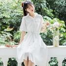 襯衫洋裝 襯衫裙女夏設計感 連身裙收腰顯瘦氣質桔梗裙初戀裙森系小個子-Ballet朵朵