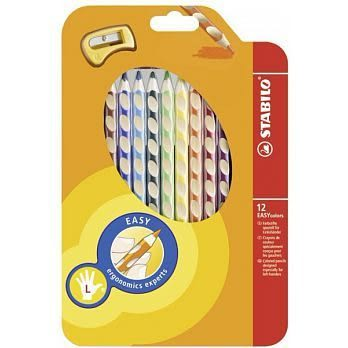 【5組量販】 左手專用人體工學色鉛筆12色入(型號:331/12)STABILO 德國天鵝牌 EASYcolors