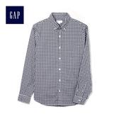 Gap男裝 商務翻領長袖格子襯衫 男士時尚襯衣職業裝441129-藍色方格花布