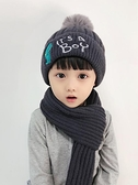 嬰兒帽 冬天兒童帽子圍巾兩件套加絨男童女童帽套頭護耳毛線帽套裝加厚潮 歐歐