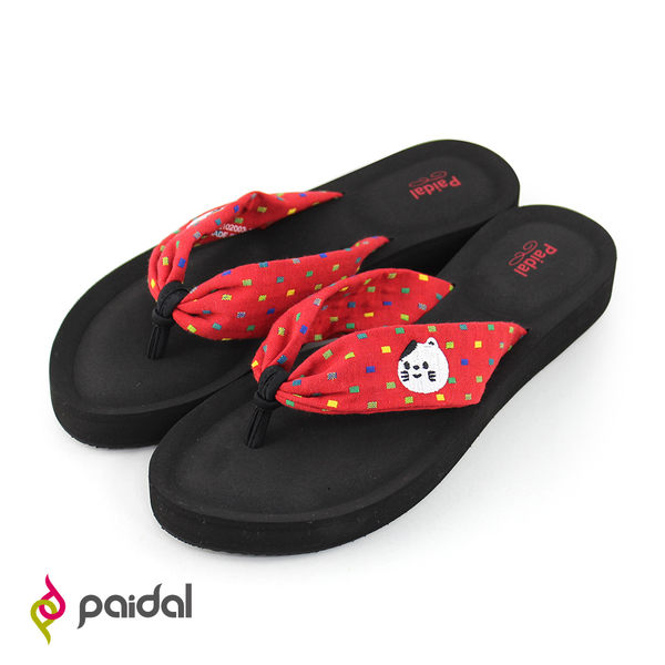 Paidal 夏夜祭典招福小貓布綁帶厚底氣墊美型拖-紅