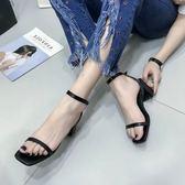 全館85折女裝韓版百搭涼鞋一字帶粗跟高跟99購物節